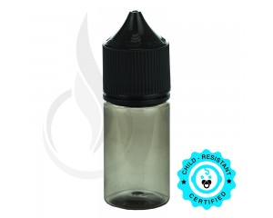 V3 - 30ML PET TRANSPARENT BLACK STUBBY CHUBBY GORILLA BOTTLE W/ CRC/TE SOLID BLACK CAP